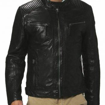 Mens Original Leather Biker Jacket Slim Fit Designer Collar Bomber Jacket EX96