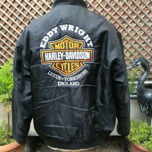 Black Bomber Flight Biker Casual jacket Harley Davidson patches men's large