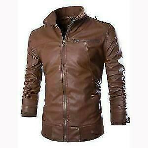 Men's Real Brown Leather Jacket Slim Fit Biker Bomber Classic Style Racer Coat