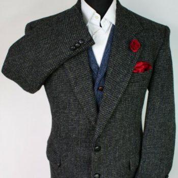 Harris Tweed Jacket Blazer Grey Black 42S SUPERB RARE TWEED X161