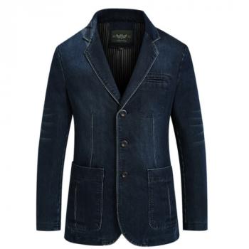 Mens Denim Blazer Fashion Jacket Coat Autumn Spring Slim Fat Casual Outwear New