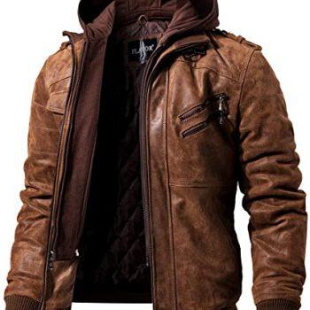 FLAVOR Men Brown Jacket with Removable Hood
