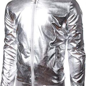 JOGAL Men's Metallic Party Costume Varsity Bomber Jacket
