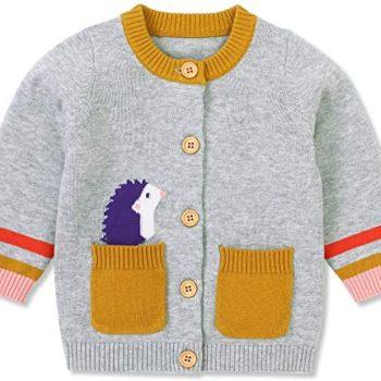 Hadetoto Baby Boys Girls Knit Cardigan Sweater Hedgehog