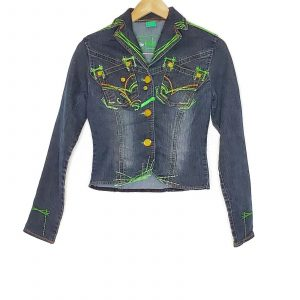Johnny Girl Embroidered Jean Jacket Women Size Medium Long Sleeve Stretch Denim