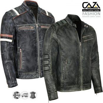 Mens Motorcycle Vintage Distressed Black Genuine Leather Biker Cafe Racer Jacket