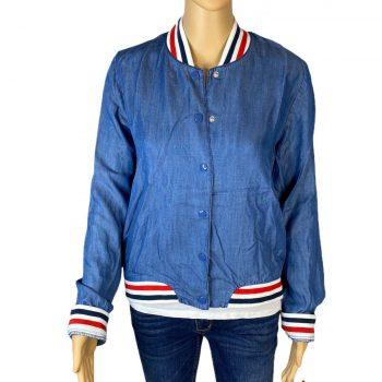 Womens MOSSIMO Blue Denim Snap Up Bomber Jacket