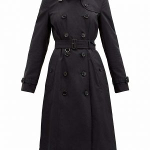 2021 New Black Burberry long Cotton trench coat with expedited shipping