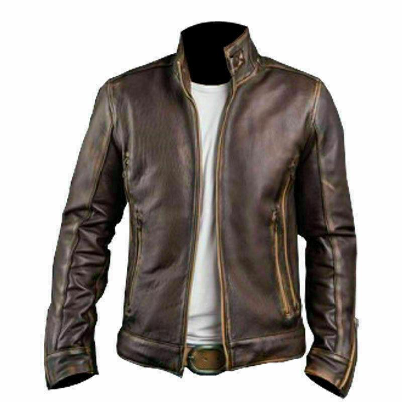 Cafe Racer Stylish Distressed Brown Biker Vintage Real Leather Men's Jacket UK