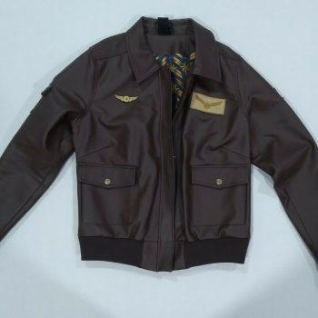 Captain Marvel Brown Faux Leather Flight Jacket