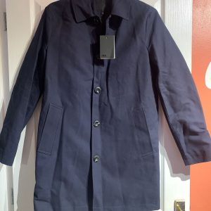 ASOS DESIGN double breasted trench coat in navy, Size XS, New