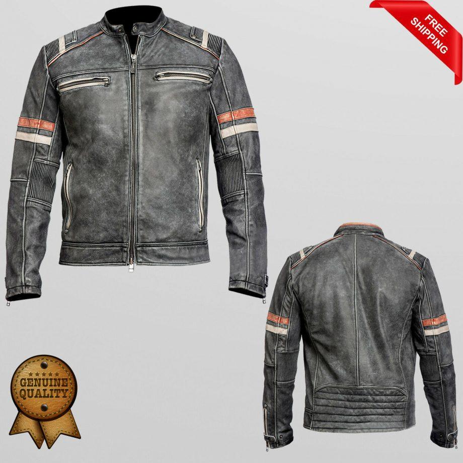 Men's Biker Vintage Motorcycle Cafe Racer Retro Moto Distressed Leather Jacket
