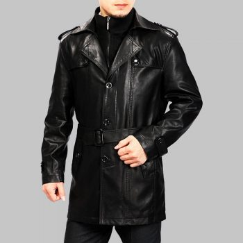 Brand New Men's Genuine Designer Lambskin Leather Trench Coat Long Jacket MTC08