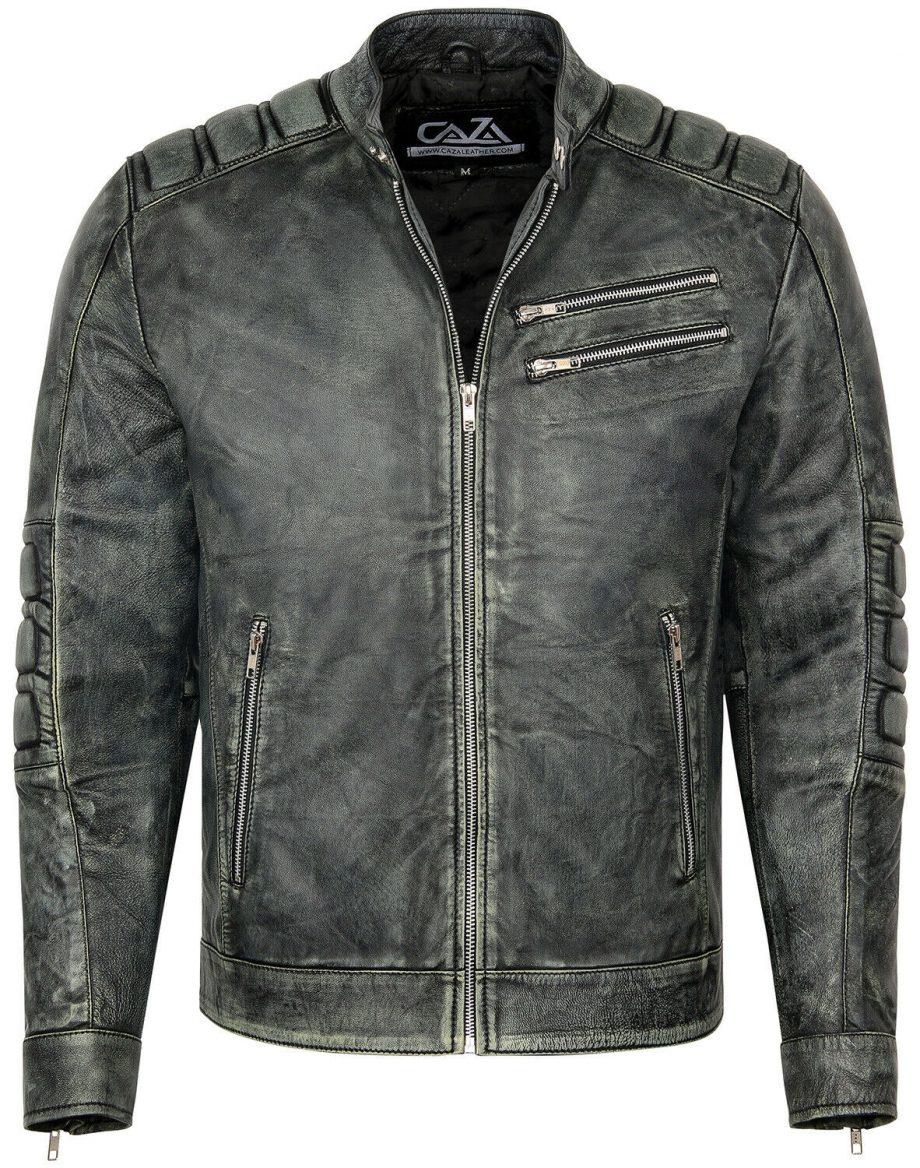 Mens Motorcycle Vintage Distressed Black Real Leather Biker Cafe Racer Jacket