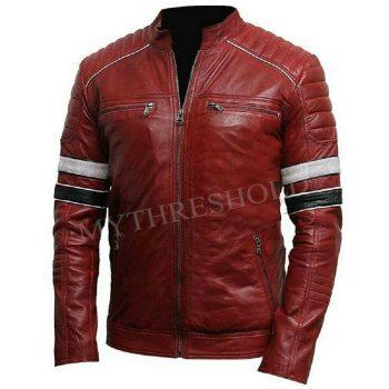 Men's Burgundy Biker Slim Fit Genuine Motorcycle Cafe Racer Leather Jacket