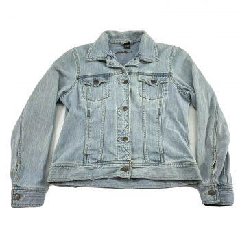 Vintage Eddie Bauer Jean Jacket Womens M Denim Light Blue Wash Classic Button Up