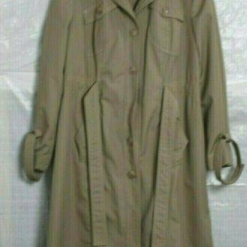 Womens Long Coat Jacket Tan Trench Coat w Belt Petite Size 11/12 P Over Coat