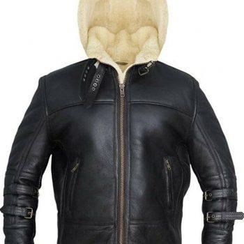 Shearling Hooded Black FUR Genuine Leather Jacket for Men