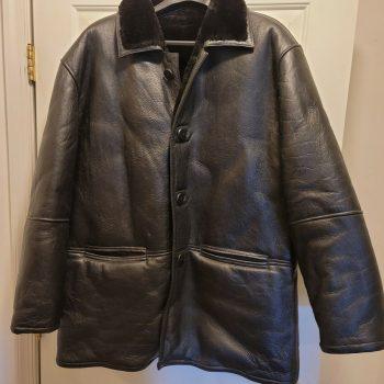 Mens Black Leather Shearling 3/4 Length Jacket