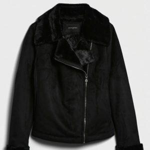 Banana Republic Faux Shearling Moto Jacket Women Size XS