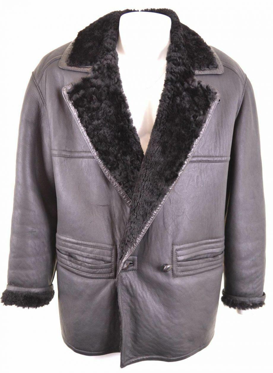 MABRUN Men's Shearling Vintage Leather Jacket