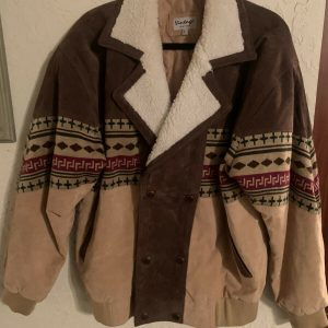 Vintage Leather Jacket With Shearling Sherpa Button