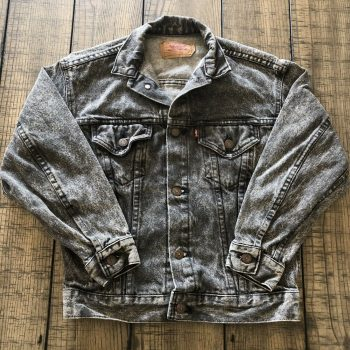 Vintage Levis Trucker Denim Jacket Black Acid Stone Wash Jean Women's Medium 90s