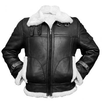 Men's Aviator RAF B3 Sheepskin Fur Shearling BLACK Leather