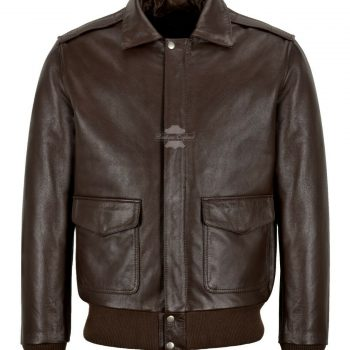 Men's Bomber Leather Jacket Brown Cowhide Classic Jacket