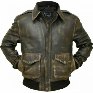Aviator A-2 Real Cowhide Distressed Leather Bomber Jacket