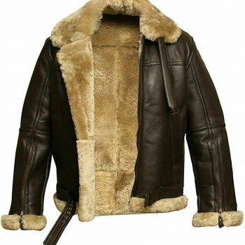 Men's RAF Aviator Real Leather Jacket Bomber B3