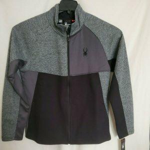 Spyder Men's Polar Marble Gray Black Full Zip Up Jacket