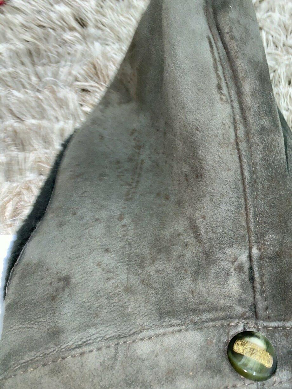 Vintage Sheepskin Shearling green Duffel Coat With Jacket