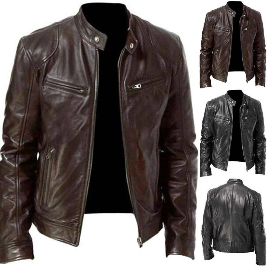 Men's Biker Vintage Motorcycle Distressed Brown Cafe Racer PU Leather Jacket 5XL