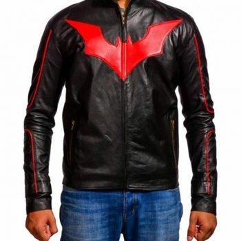 Red Logo Batman Beyond Black Leather Jacket
