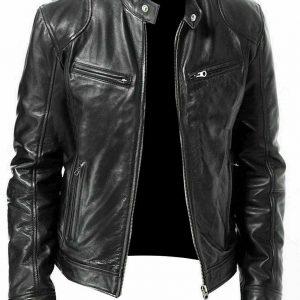 Men's Cafe Racer Black Motorcycle Vintage Real Biker Leather Jacket