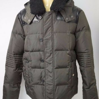 The Kooples Men's Black Puffer Jacket Genuine Sheep Shearling Collar Size Large