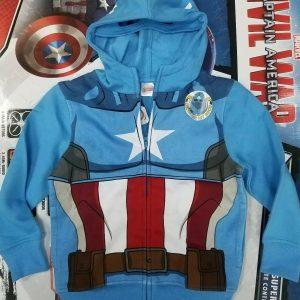 NEW MARVEL Captain America KIDS BOYS ZIP UP HOODED JACKET