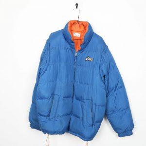 ASICS Small Logo Puffer Jacket Coat Blue   Medium M