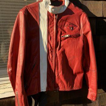 Batman Leather Jacket White Stripe Men's Color (Red)