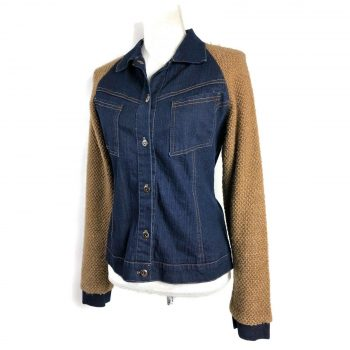 Vintage Western Denim Jacket Blue Dark Wash Long Tan Knit Sleeves Modern Size M