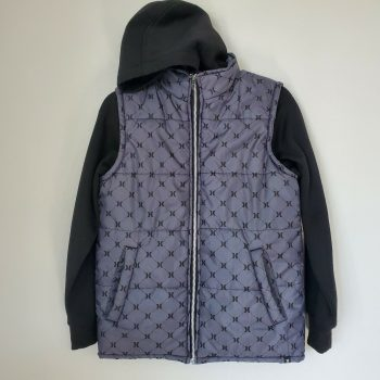 Hurley Men's Full Zip Hoodie Black Jacket Size Medium M Puffer Windbreaker