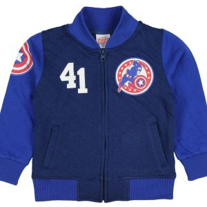 Marvel Captain America Red Blue Quilted Varsity Letterman Jacket