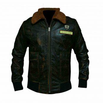 Jumanji 2 Welcome To Jungle Nick Jonas Aviator Distressed Brown Leather Jacket