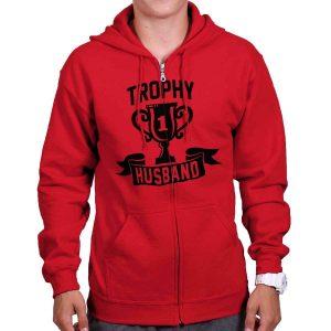 Troophy Husband Number One Married Gift Mens Zip Hoodie Jacket Sweatshirt