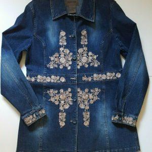 Brandon Thomas Women's 3/4 length Embroidered Denim Jacket Dark Wash Large