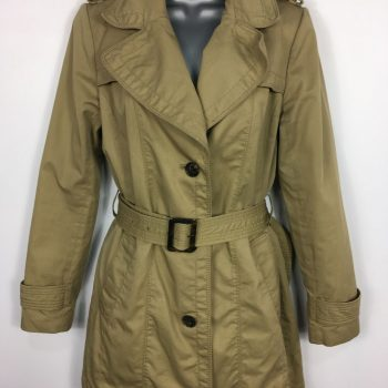 WOMENS BANANA REPUBLIC SAND BROWN BUTTON UP BELTED MAC TRENCH COAT SIZE SMALL