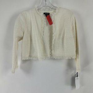 WORTH Cream Fringe Cropped Cotton Jacket Size XS