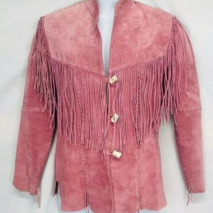 Scully Pink Leather Jacket Size S Womens Fringe Toggle Button