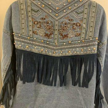 Women's Fringe Studded Embroidered Vintage Blue Jean Denim Trucker Jacket Small